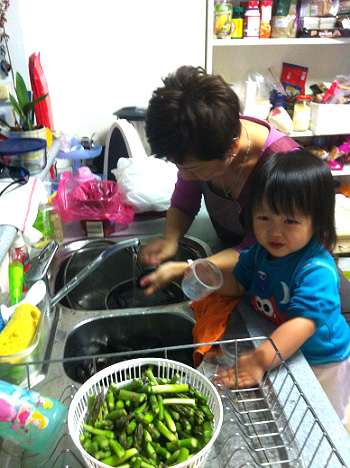 Washing veg